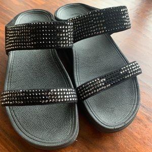 FitFlop Flare Strobe Rhinestone Slide Sandals